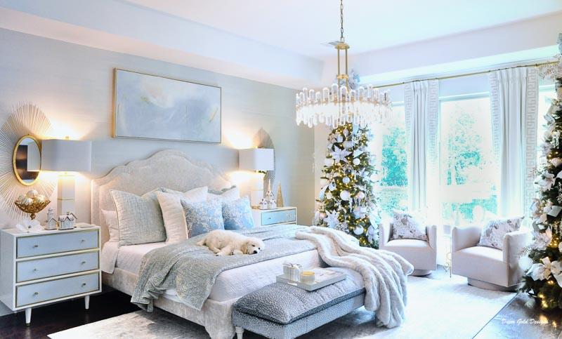Christmas bedroom pastels beautiful tree
