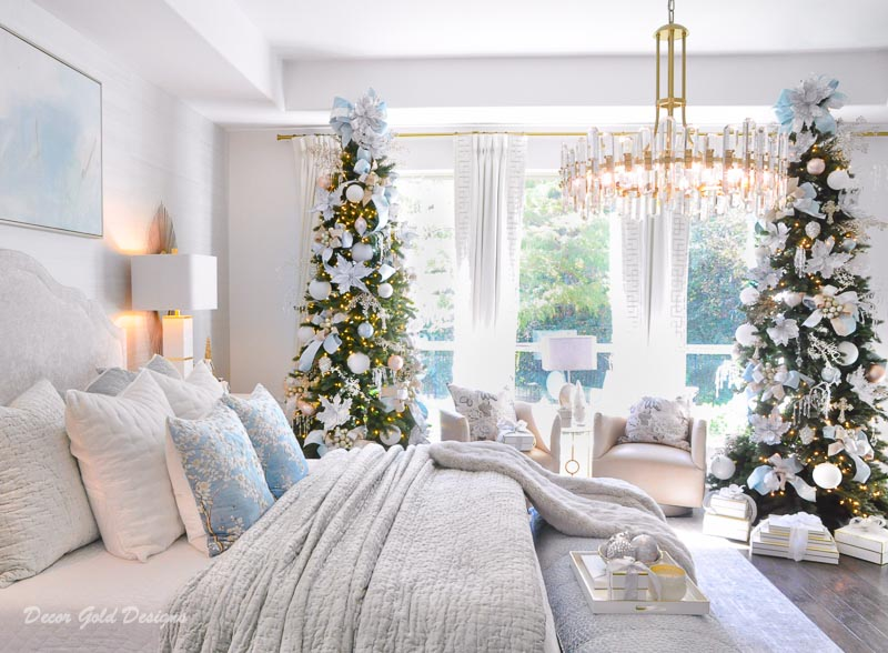 Beautifully decorated bedroom Christmas trees