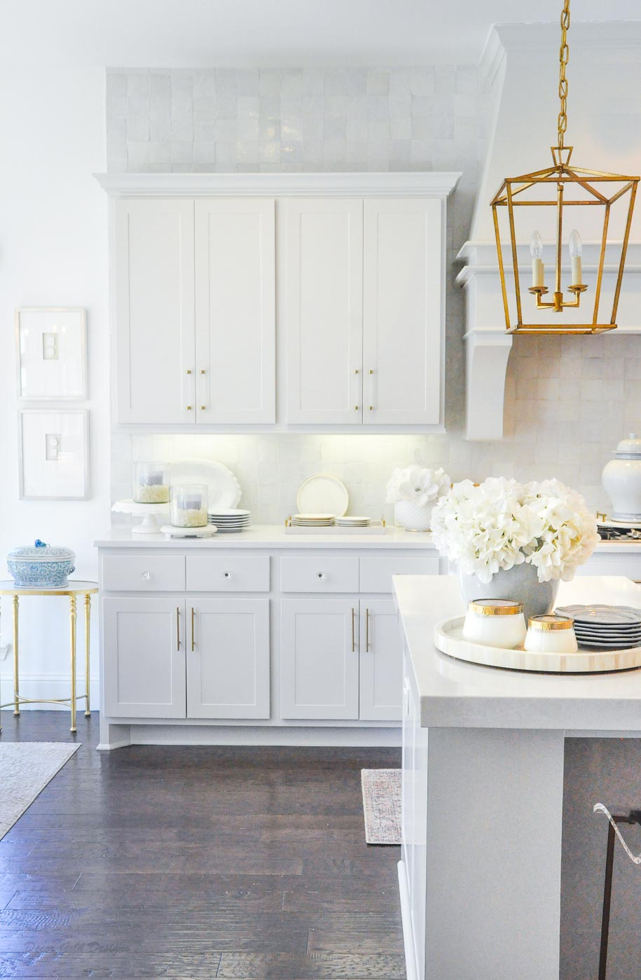 Winter white gold kitchen open dining