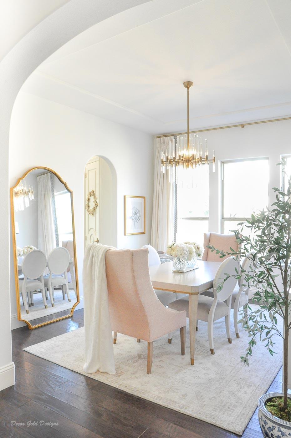 Winter white gold blush dining room