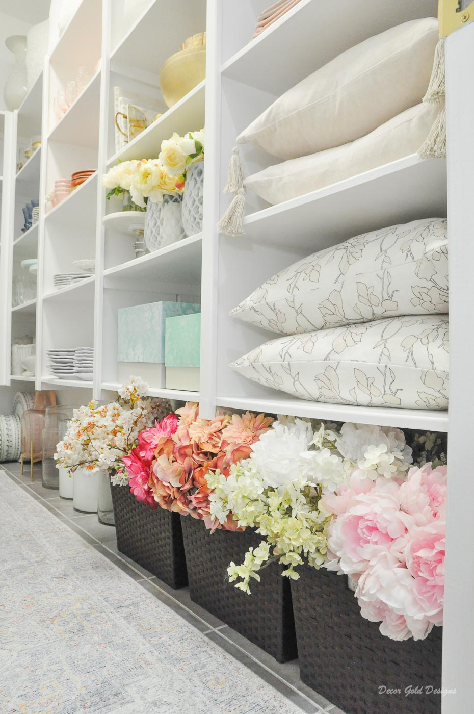 Entertaining closet faux flowers baskets