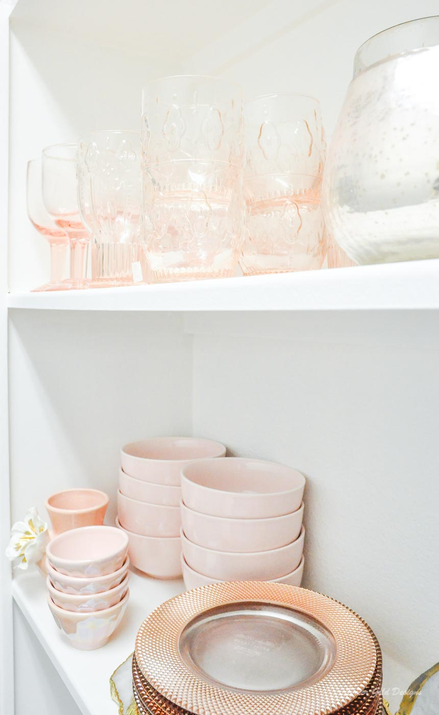 Entertaining closet blush glassware dinnerware