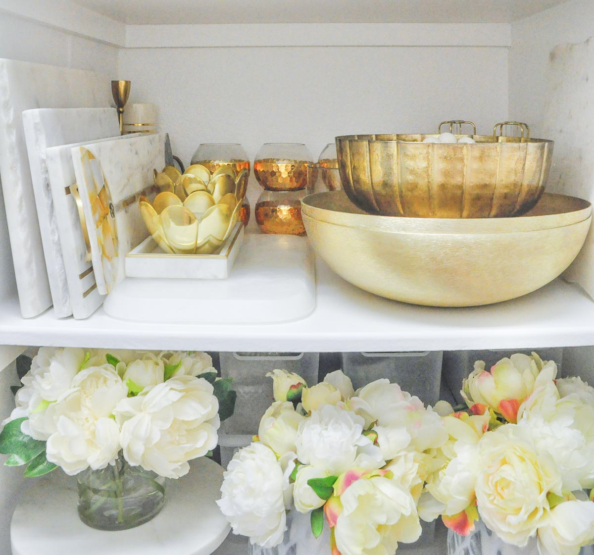 Entertaining closet shelf gold home decor