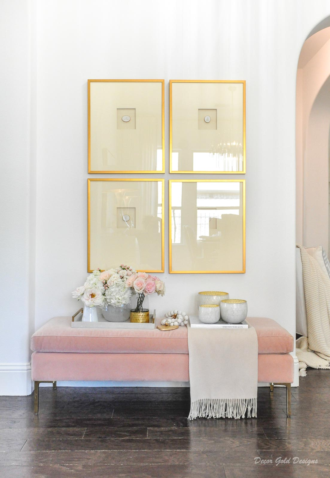 Spring home tour entryway blush pink gold