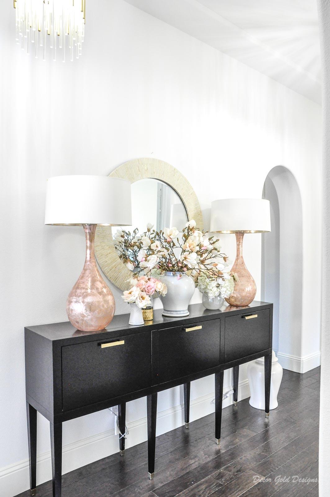 Spring home tour entryway console table spring decor