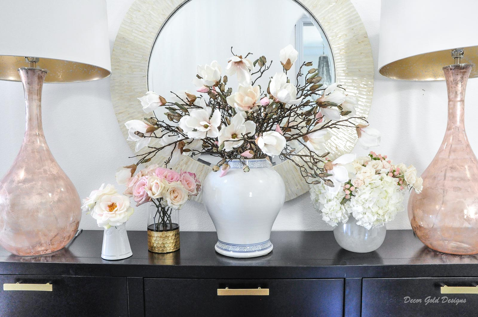 Spring home tour entryway spring florals white decor