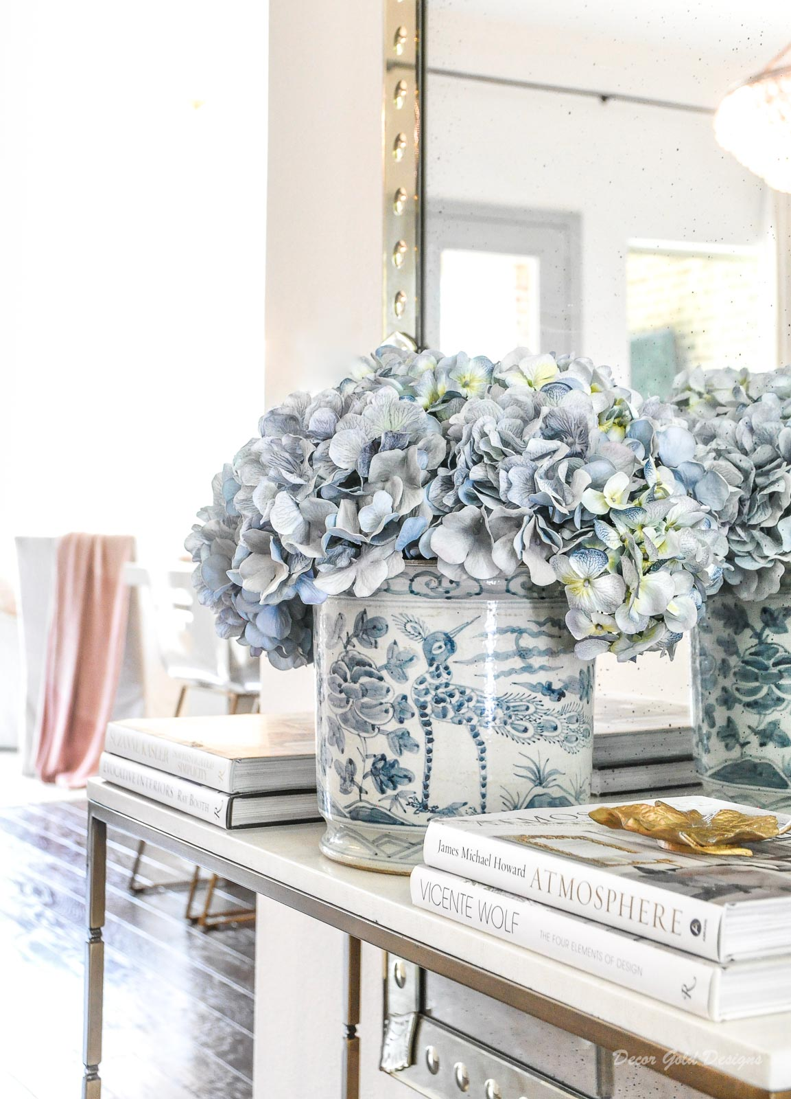 Spring home tour entryway light blue accents