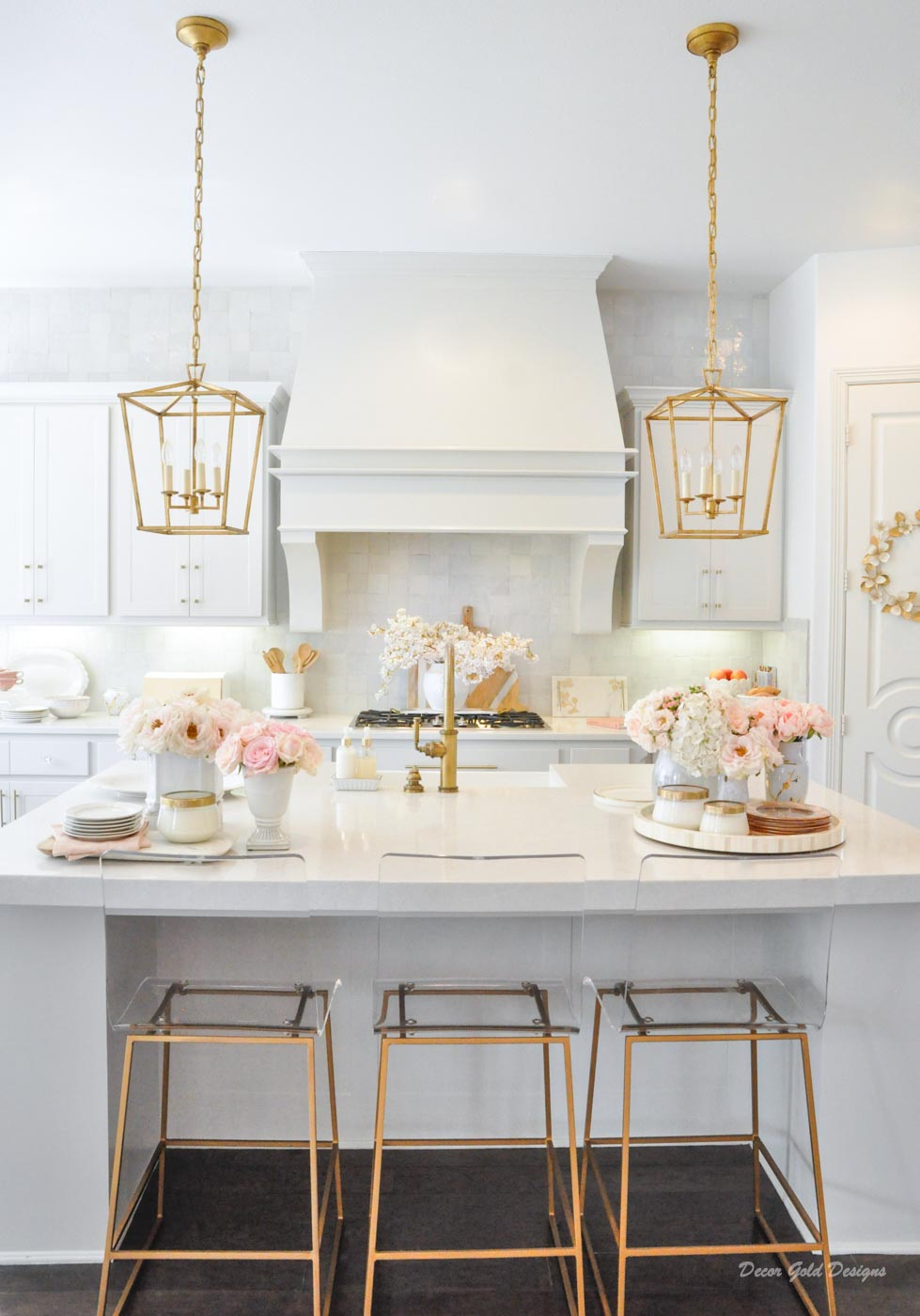 Spring home tour kitchen gold accents white pink flowers