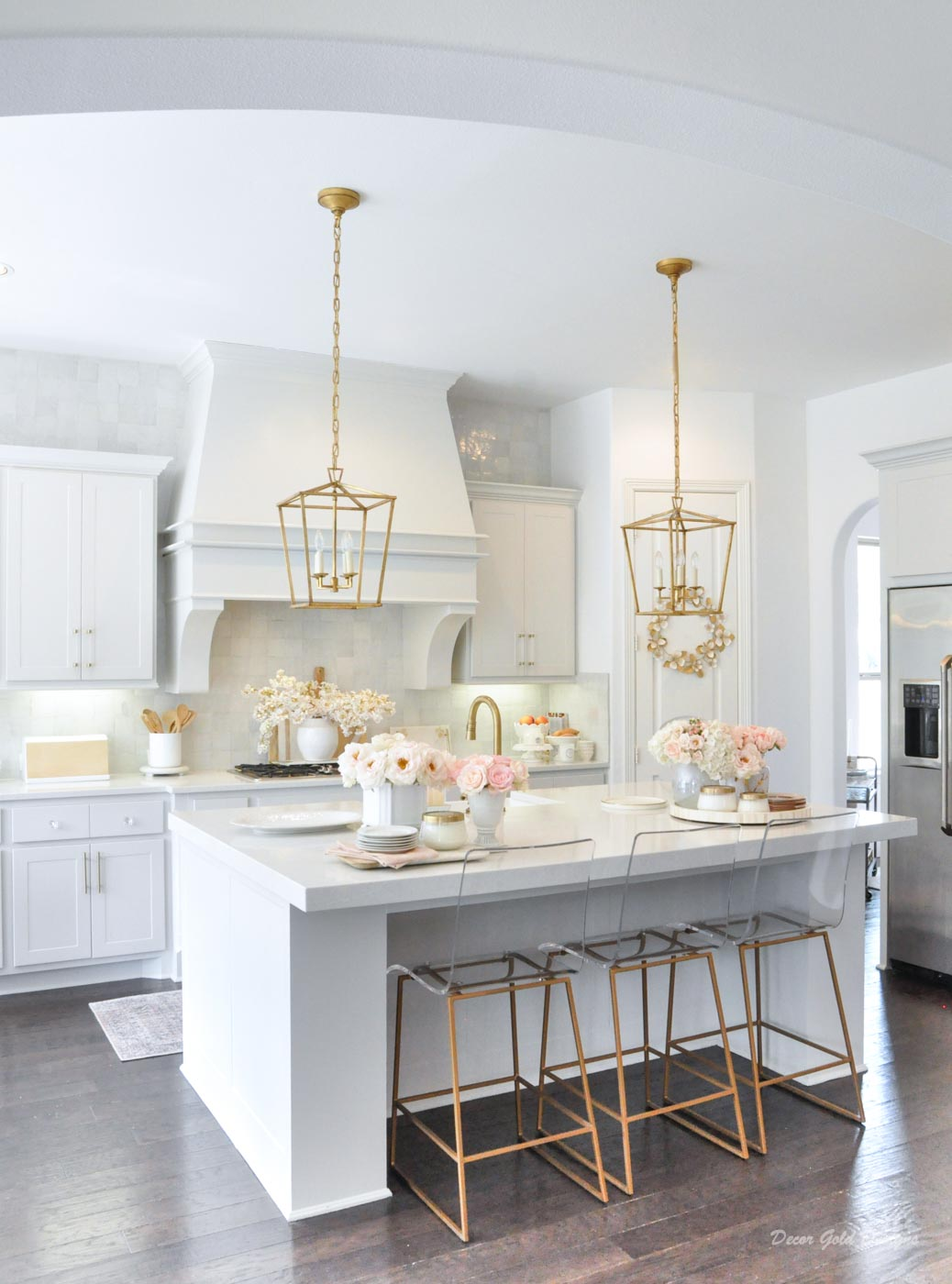 Spring home tour kitchen gold accents beautiful accessories