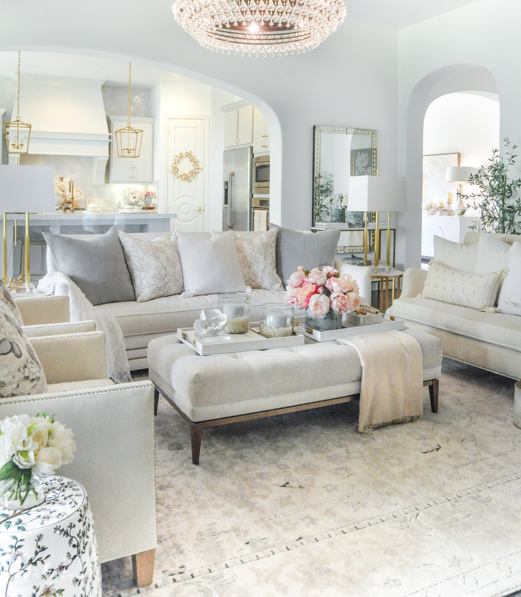 Spring home tour living room light blue accents