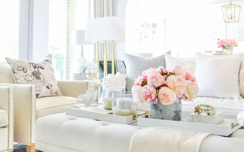 Spring home tour living room decor pink peonies