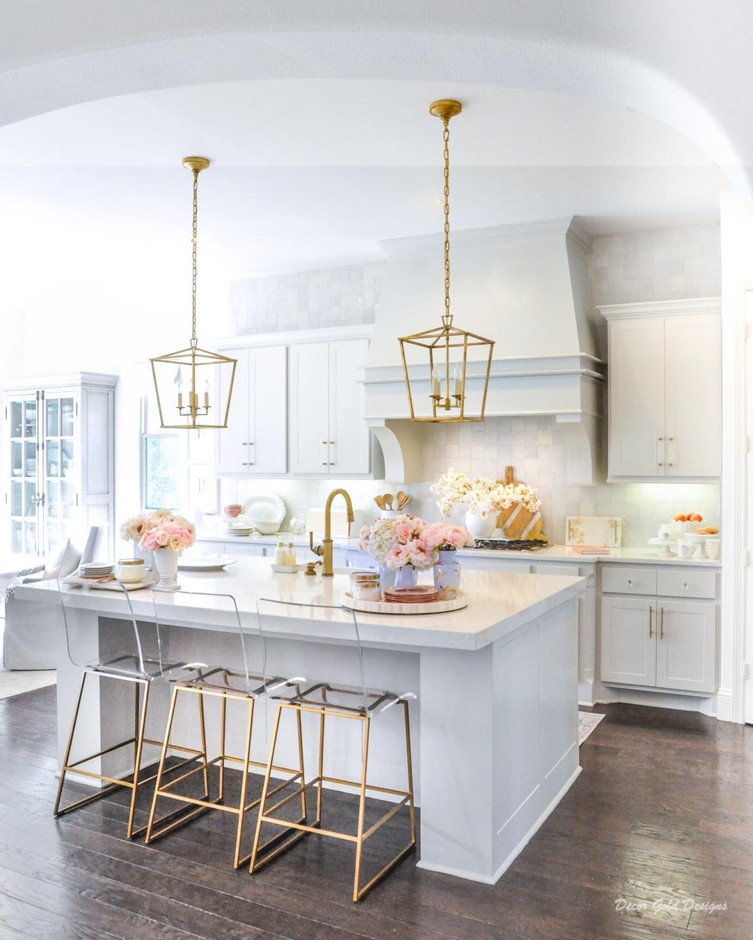Spring home tour kitchen gold accents