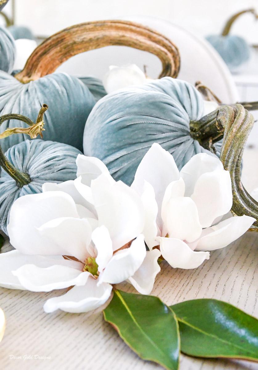 Magnolias elegant fall pumpkin centerpiece
