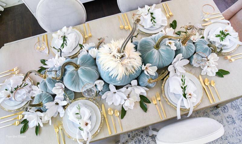 Elegant blue velvet pumpkins fall centerpiece