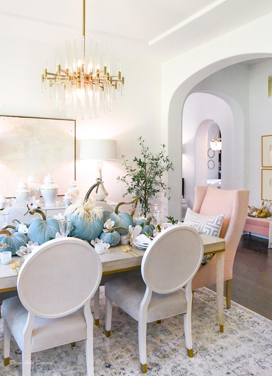 Elegant velvet pumpkin centerpiece beautiful dining room