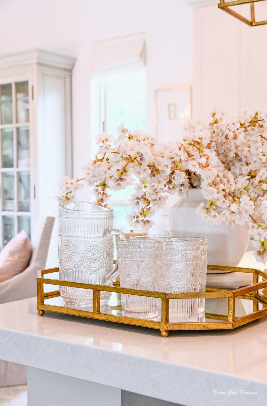 Fall home decor gold tray glassware pitcher